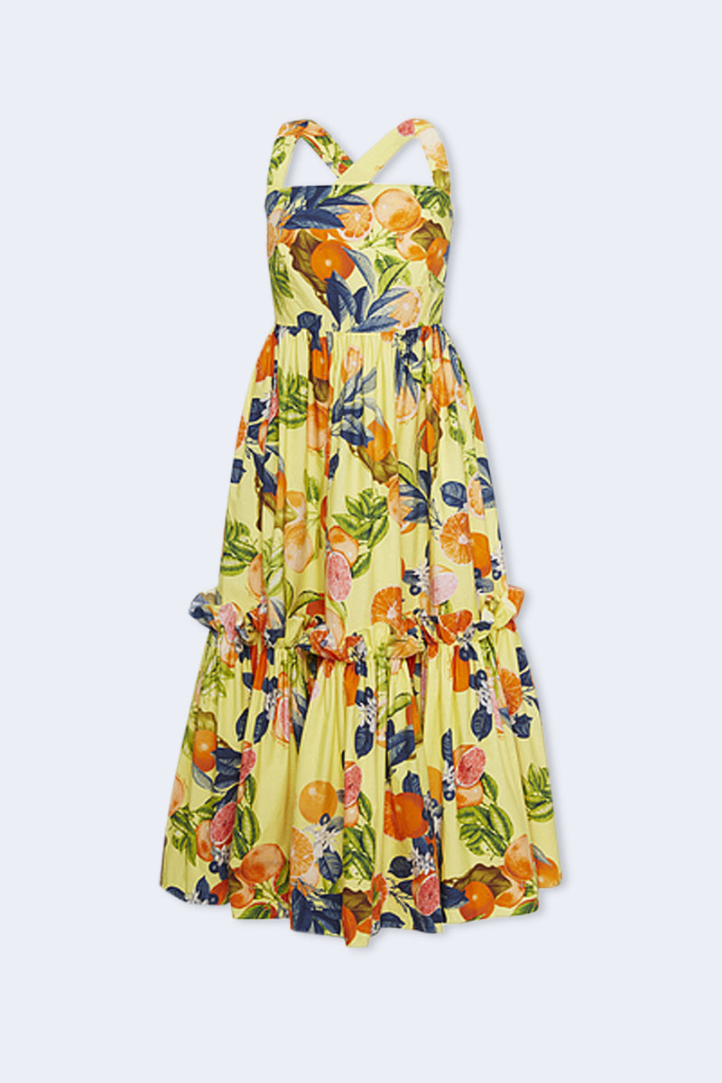 Julia Cross Back Dress in Yellow Fruit Print