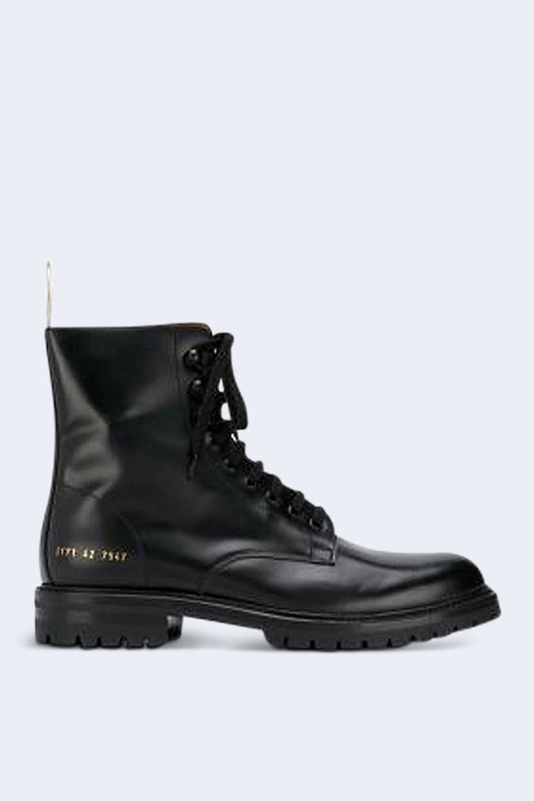 Men's Combat Boots with Lug Sole in Black