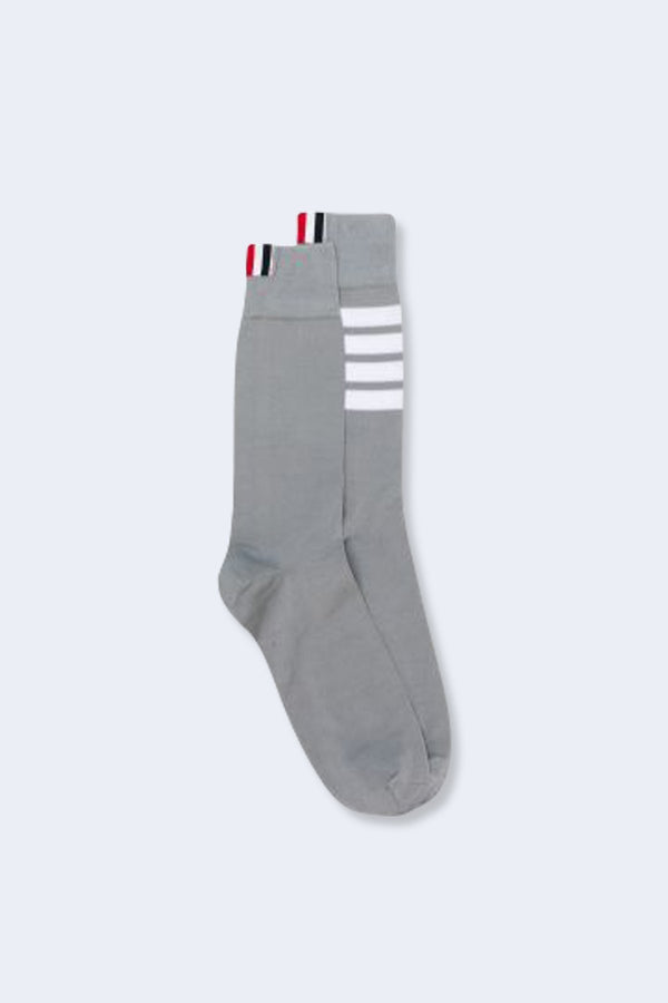 Mid Calf Socks with White 4 Bar Stripe in Lightweight Cotton