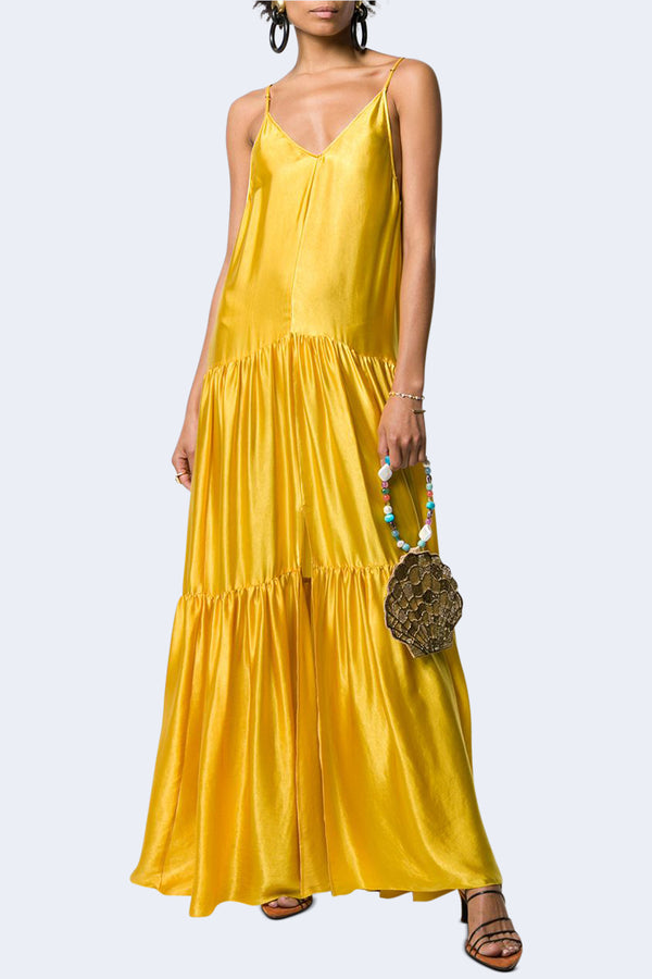 Moire Satin Long Dress in Citrine