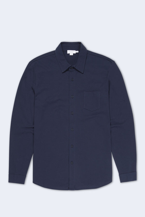 Long Sleeve Pique Button Down Shirt in Navy