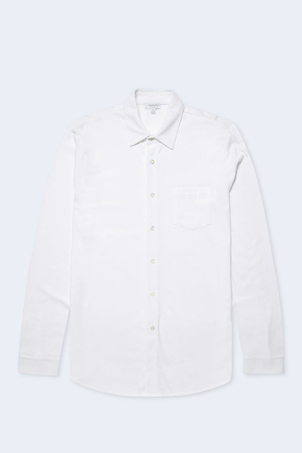 Long Sleeve Pique Button Down Shirt in White