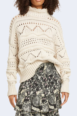 Naka Knit Turtleneck Sweater in Ecru