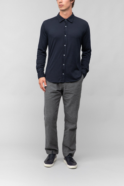 Long Sleeve Supima Jersey Easy Shirt in Navy