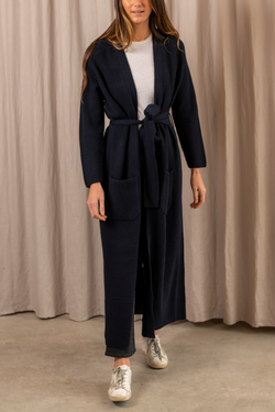 Cashmere Knitted Cardigan Coat in Navy