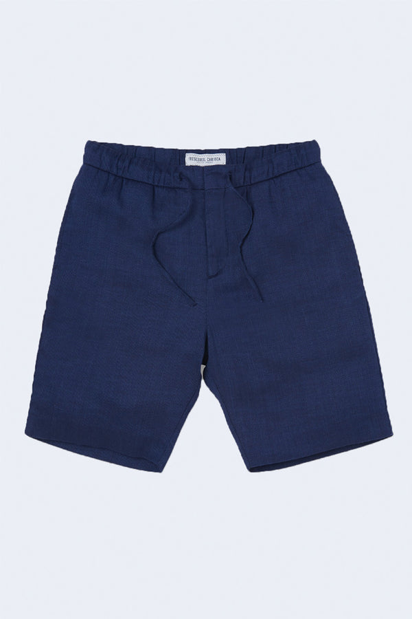 Sport Linen Shorts in Navy Blue