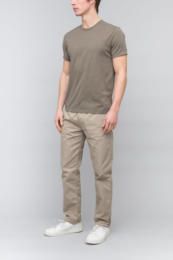 Short Sleeve Heather Crew Tee in Olive