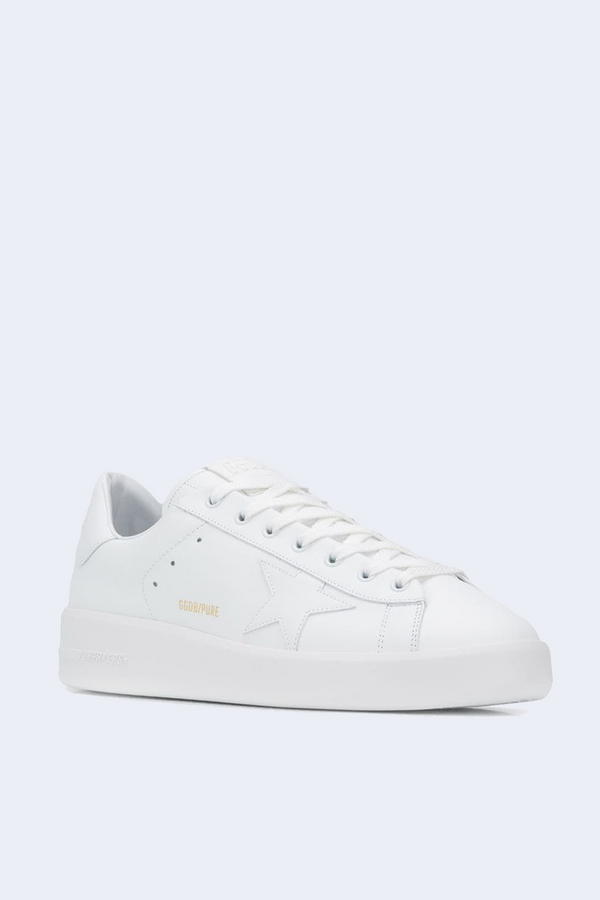 Pure Star Leather Upper Star and Heel Sneaker in Optic White