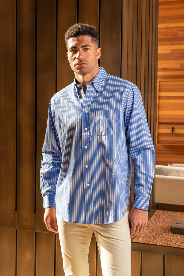 New Button Down Shirt in Blue Stripe
