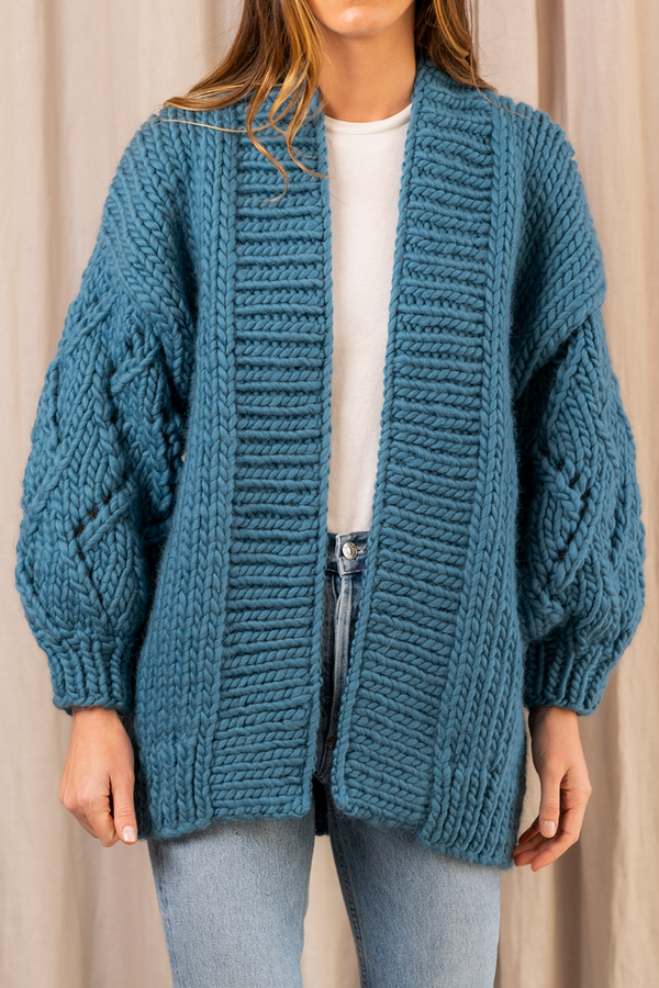 Lace Chunky Wool Cardigan in Petrol Blue