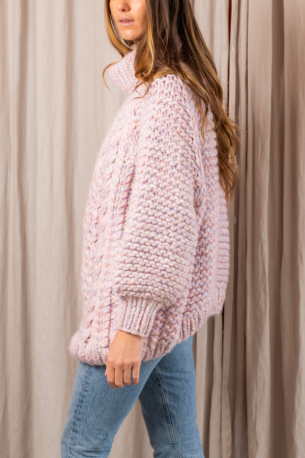 High Neck Cable Jumper in Unicorn