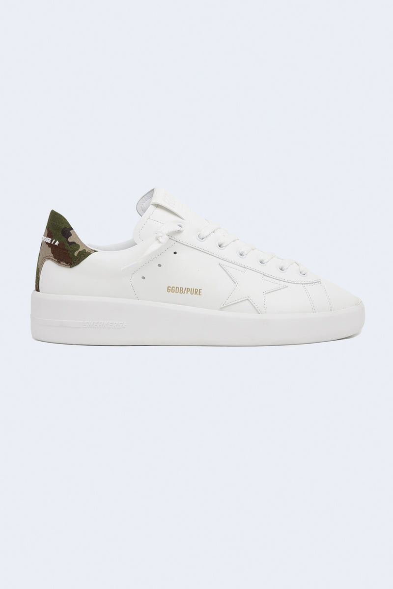 Men's Pure Leather Camouflage Ripstop Heel Sneakers in White Green Camouflage