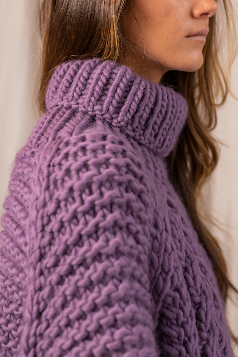 High Neck Cable Jumper in Purple