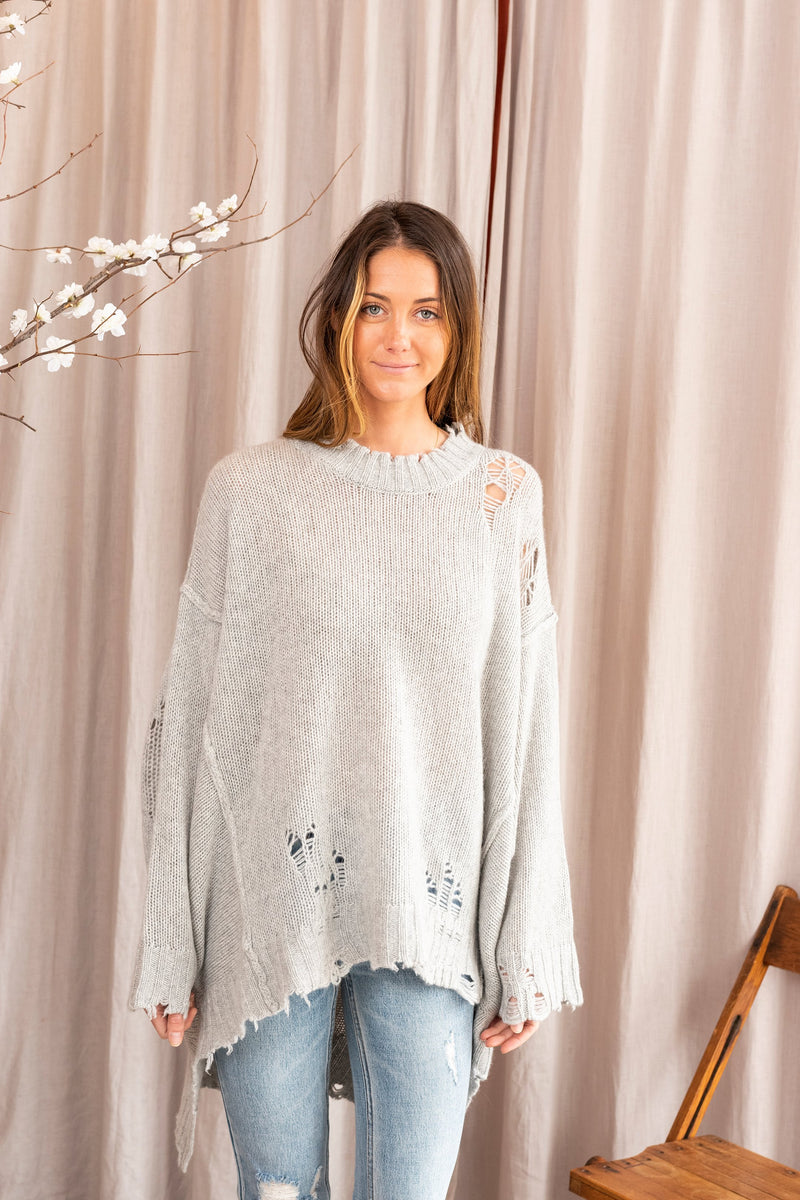 Women's Distressed Cashmere Patti Sweater in Heather Grey