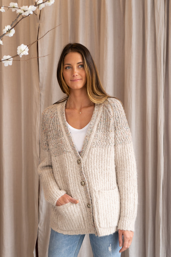 Two Tone Boxy Knit Cardigan in Oatmeal