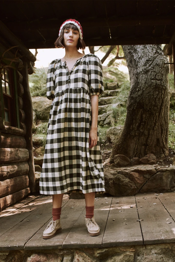 The Ravine Dress in Cocoa Buffalo Check