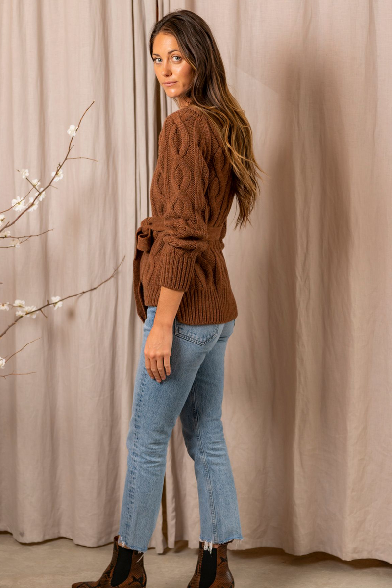 Replenish Cashmere Knit Sweater in Medium Brown