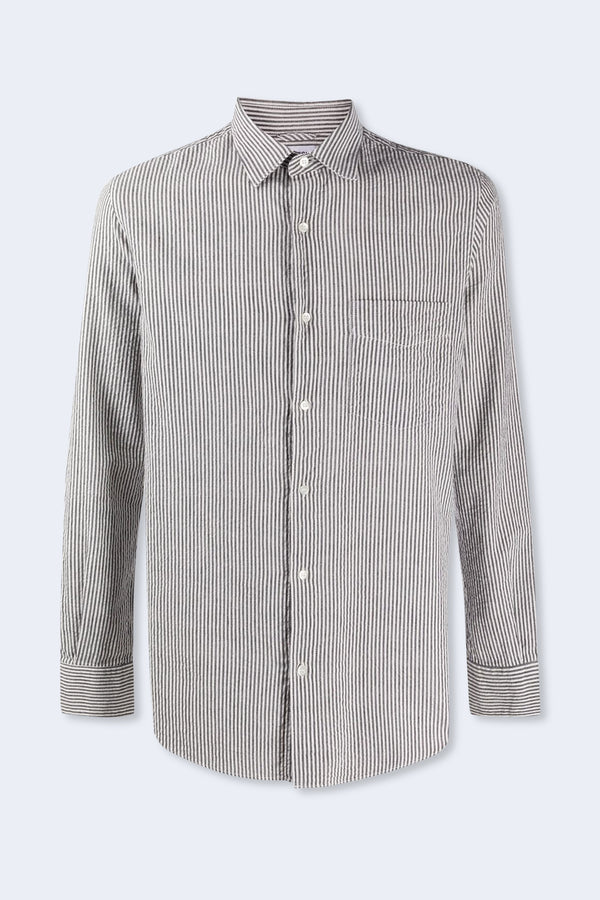 Ridotta Light Seersucker Shirt in Gray