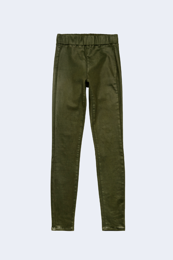 Rochelle High Rise Pull On Jean in Army Green Coated