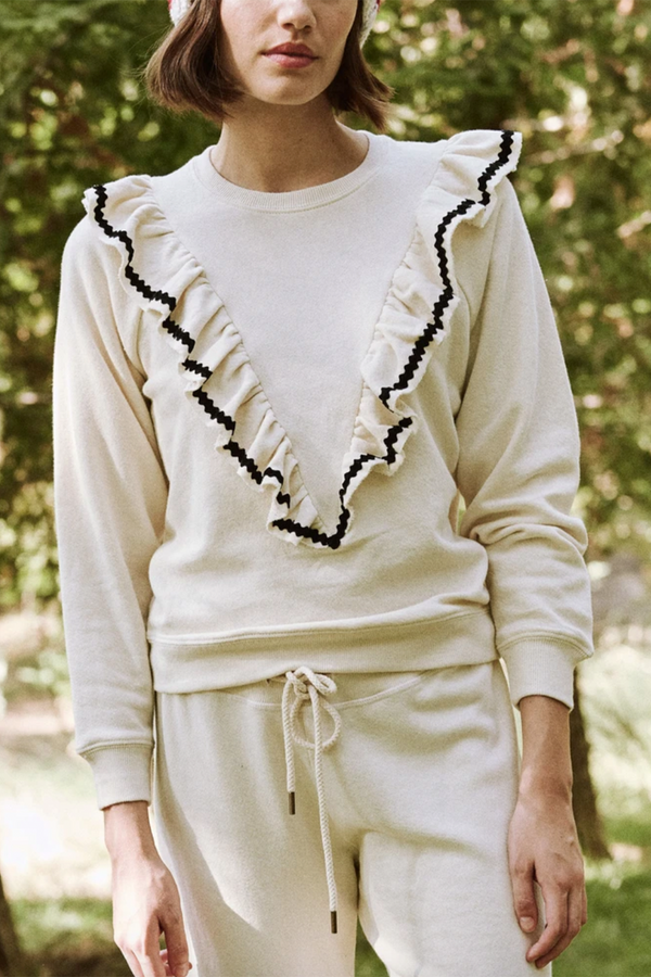 The Shrunken Ruffle Sweatshirt in Washed White