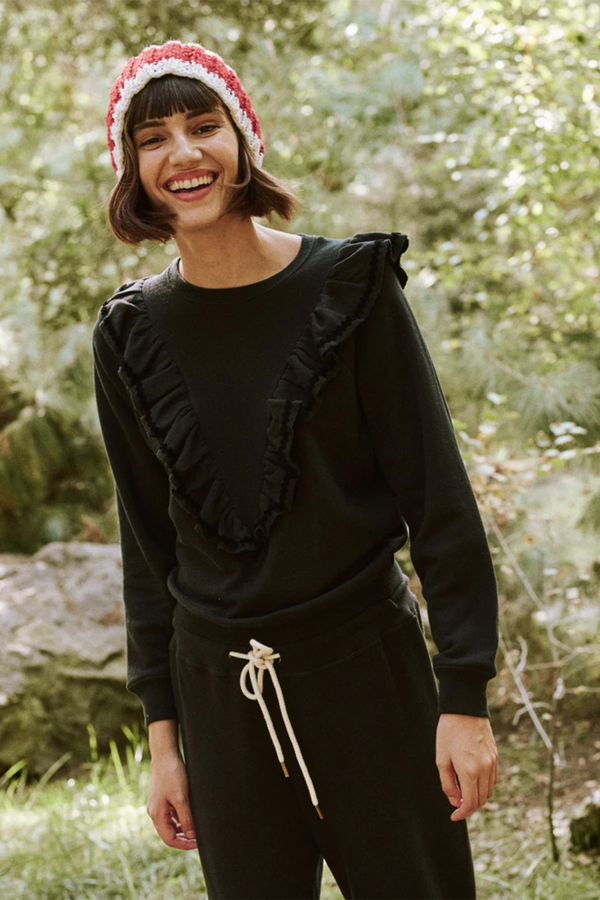 The Shrunken Ruffle Sweatshirt in Almost Black