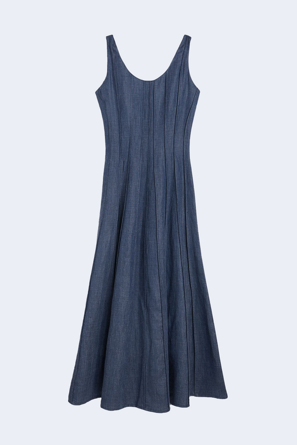 Sara Linen Denim Abito Dress in Blue