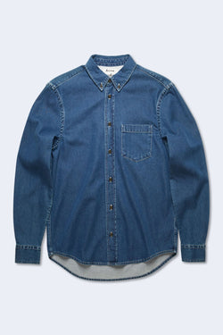 Men's Sarkis Denim Shirt in Mid Blue