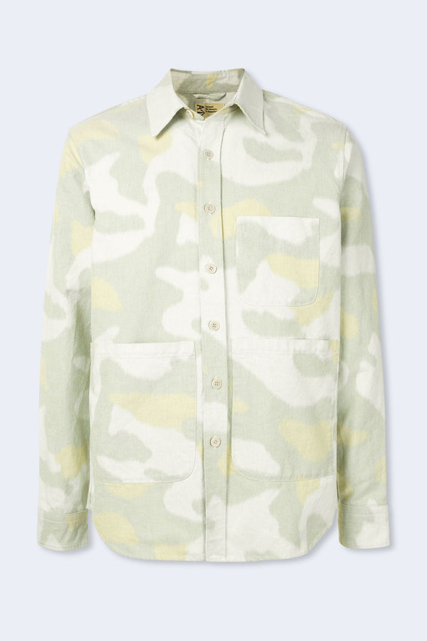 Shirt Jacket Camo Print in Sage