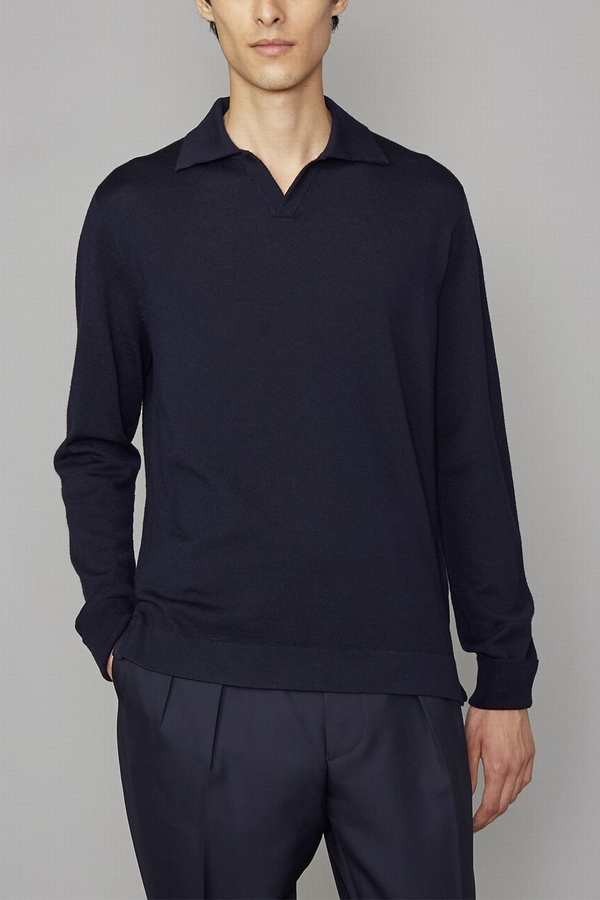 Simone Knitted Long Sleeve Polo in Navy