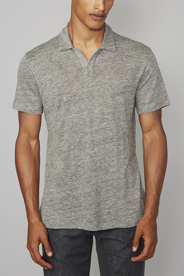 Simon Heather Linen Polo in Heather Grey
