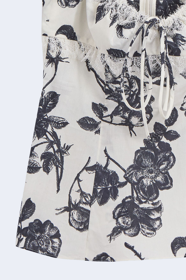 Siria Floral Print Popeline Top in Ivory Navy