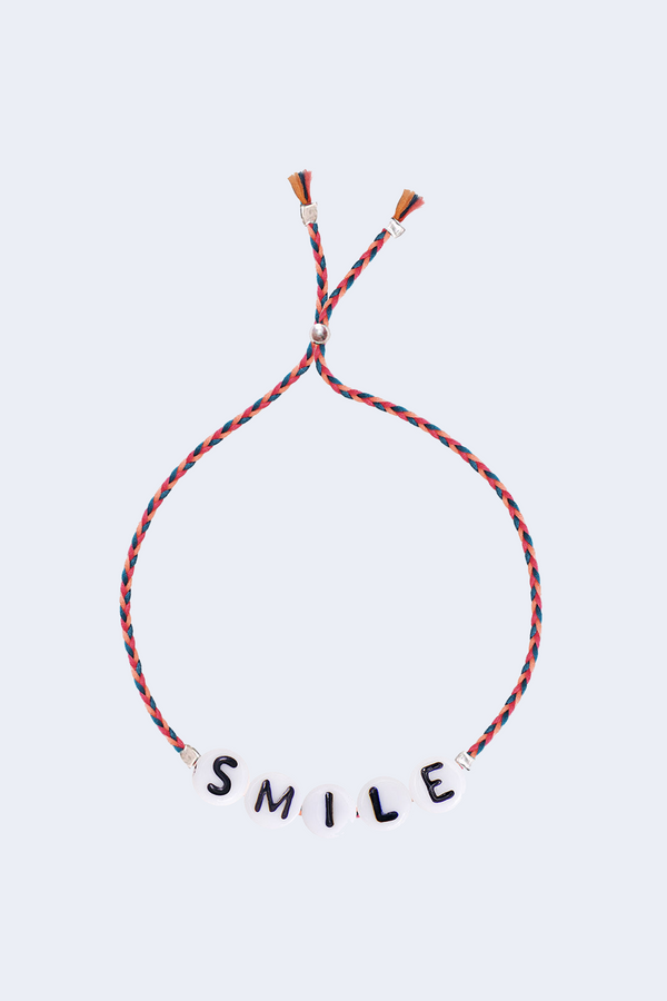 Smile Glass Letter Bracelet in Red