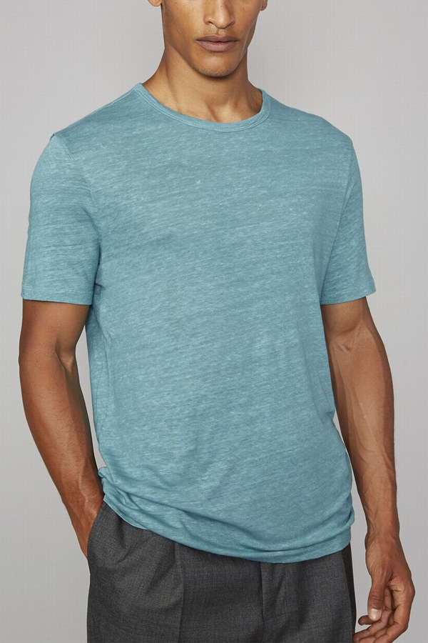 Short Sleeve Piece Dyed Linen Tee in Brittany Blue