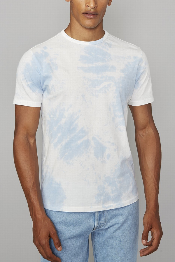 Short Sleeve Cotton Tee in Pale Blue White