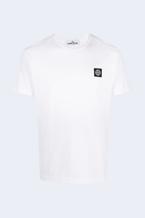 Short Sleeve Patch Logo Tee in White