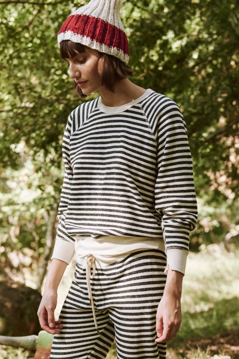 The College Sweatshirt in Black Stocking Stripe