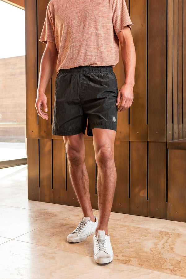 Drawstring Shorts with Zipped Back Pocket in Black