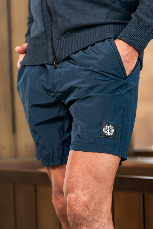 Drawstring Shorts with Zipped Back Pocket in Blue Marine