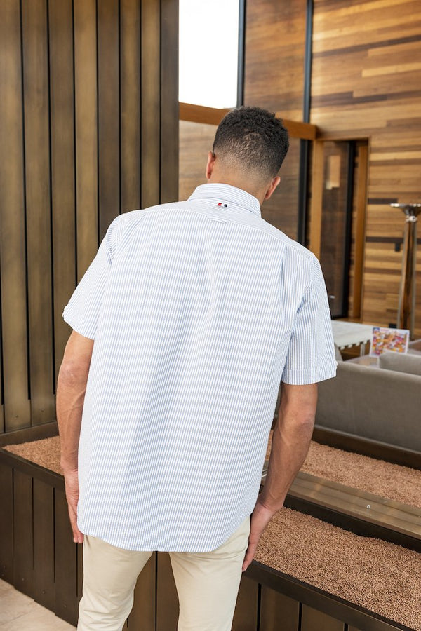 Straight Fit Button Down Short Sleeve in Seersucker