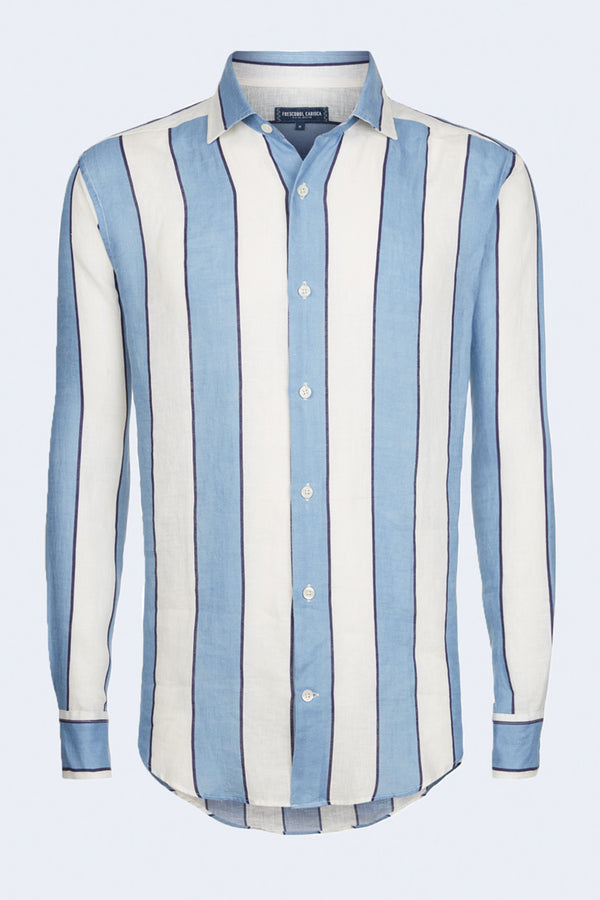 Linen Stripe Regular Long Sleeve Shirt in Slate Blue