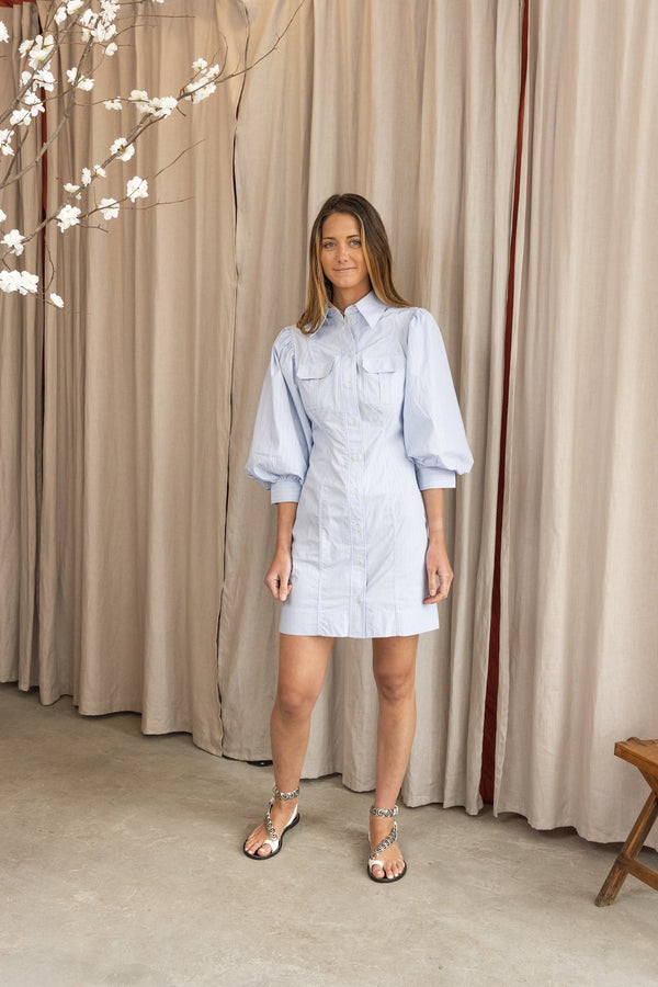 Striped Cotton Button Down Dress in Brunnera Blue