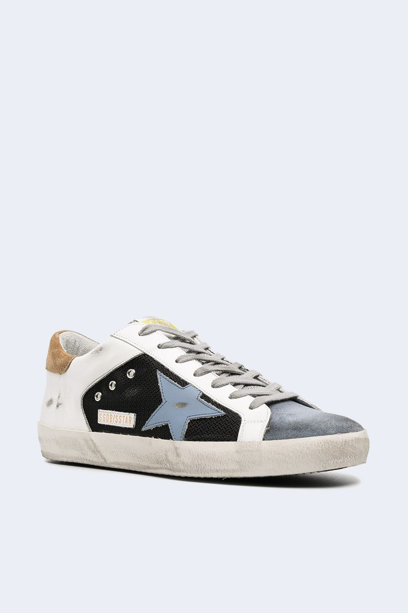 Superstar Net Leather Star Suede Sneaker in White Powder Blue Elk Brown