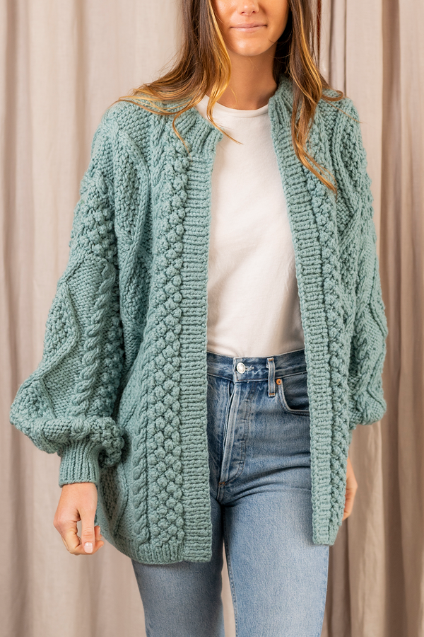 Kim Light Wool Cardigan in Surf Blue