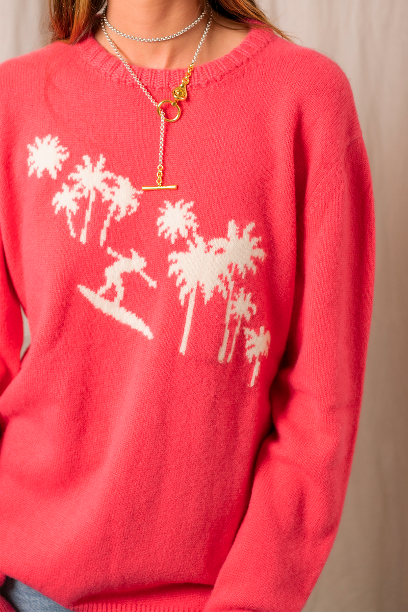 Surfer Palm Sweater in Pink White