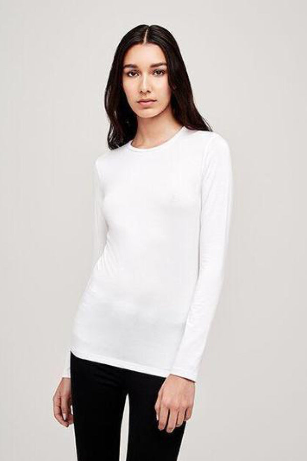 Tess Long Sleeve Crew Neck Tee in White
