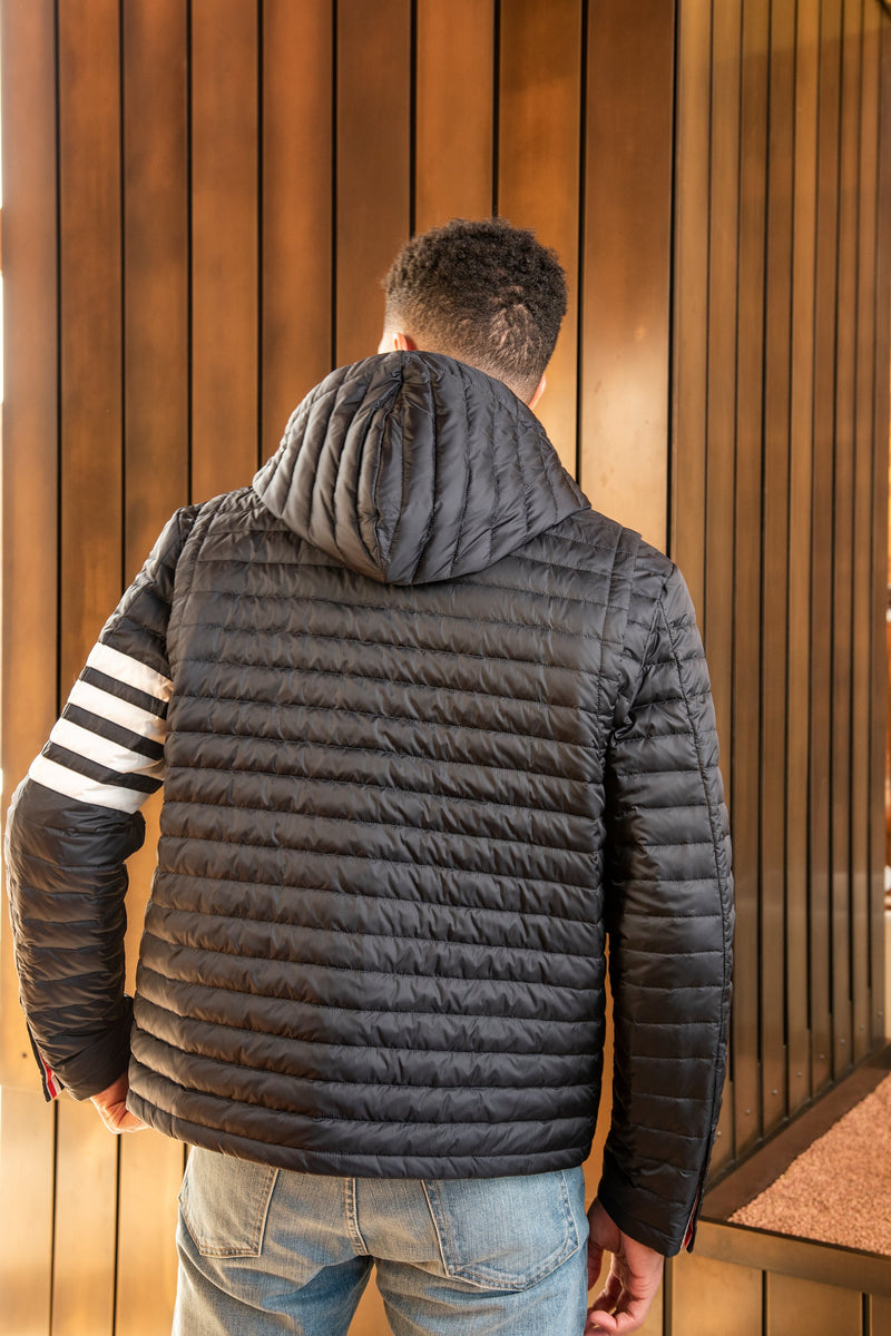 4 Bar Stripe Downfill Quilted Hooded Jacket in Navy