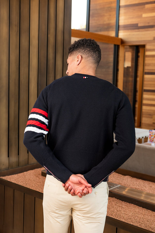 Diagonal Stitch Classic Crewneck Pullover in Navy