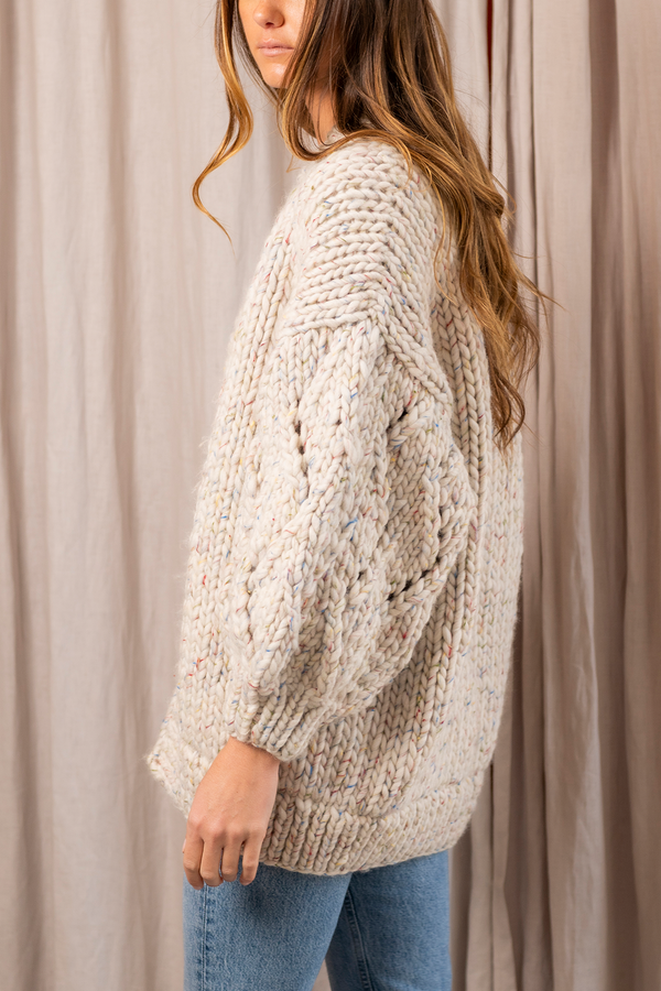 Lace Chunky Wool Cardigan in Tornado White