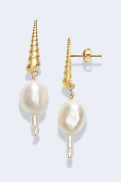 Turret Shell Baroque Pearl Earrings in Gold