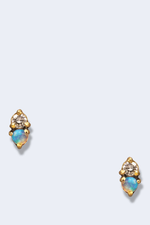 Two Step Earring with Faceted Stone Single